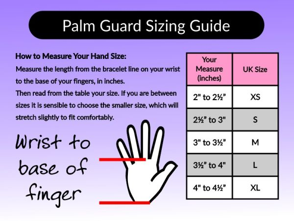 An image of the palm guard sizing guide