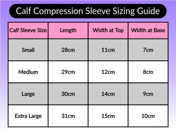 An image of the calf compression sleeve sizing guide