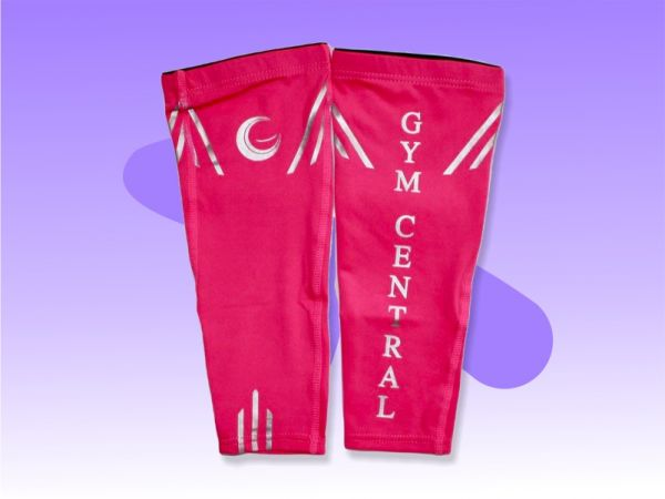 An image of a pair of Pink Gym Central Calf Compression Sleeves