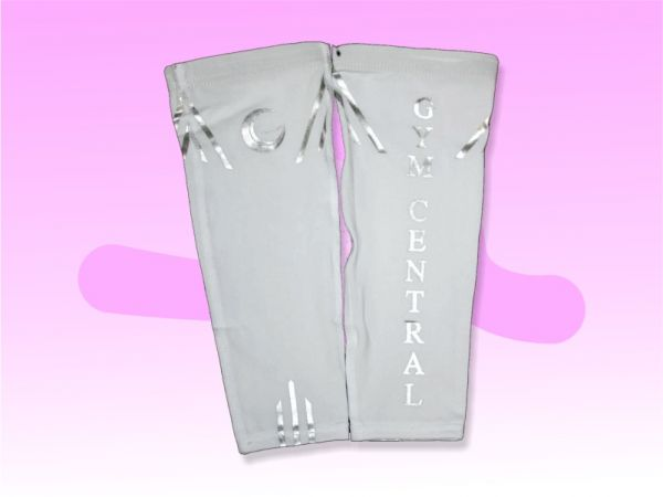 An image of a pair of White Gym Central Calf Compression Sleeves