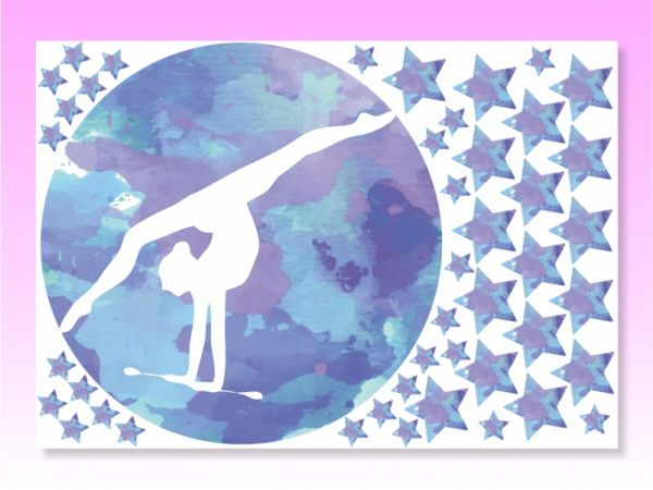 An image of Gymnastic Stickers for walls Blue