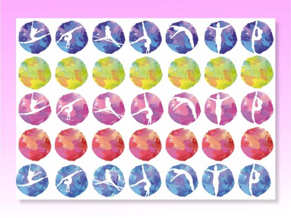 An image of Gymnastic Stickers for walls multi coloured