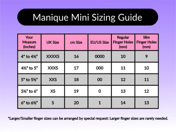 An image of the Manique Mini Sizing Guide