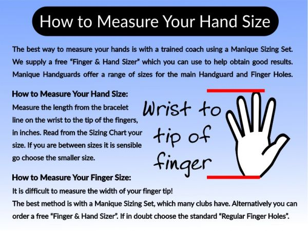 An image of how to measure your hands for Manique Handguards