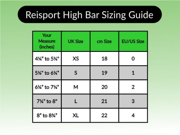 An image of the Reisport A Bar Guard Sizing Chart