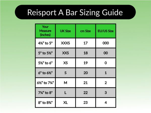An image of the Reisport Uneven Bar Guard Sizing Chart