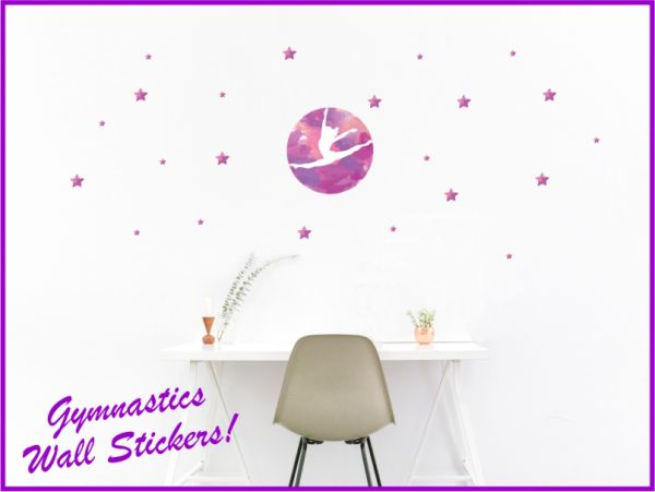 An image of Gymnastics Stickers for walls example on wall