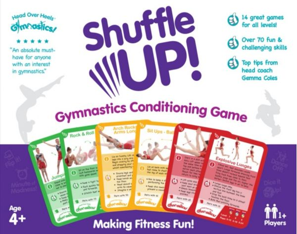 An image of the Head Over Heals about Gymnastics Shuffle Up Game box cover