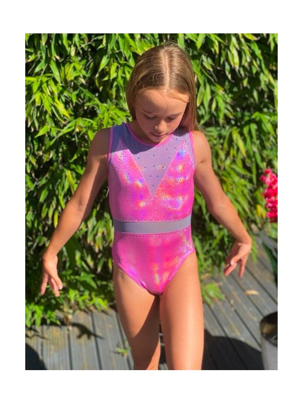 An image of the Gym Central Sienna - Silver Pink Leotard Front View