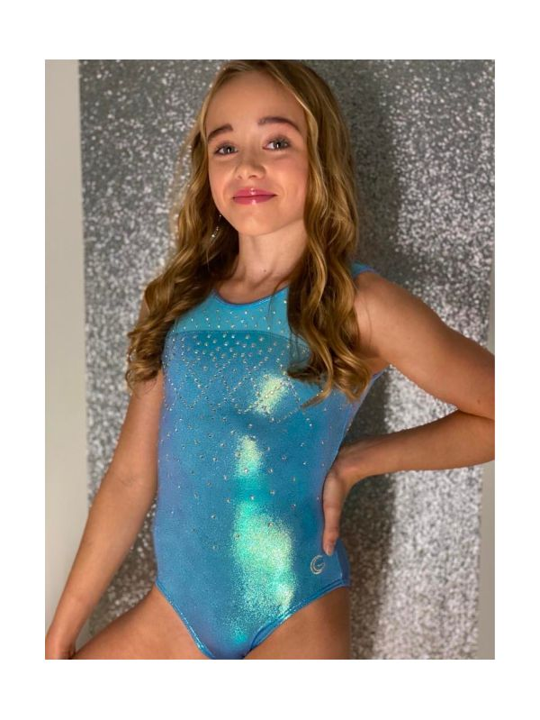An image of the Gym Central Faye - Blue Pearl Leotard Main