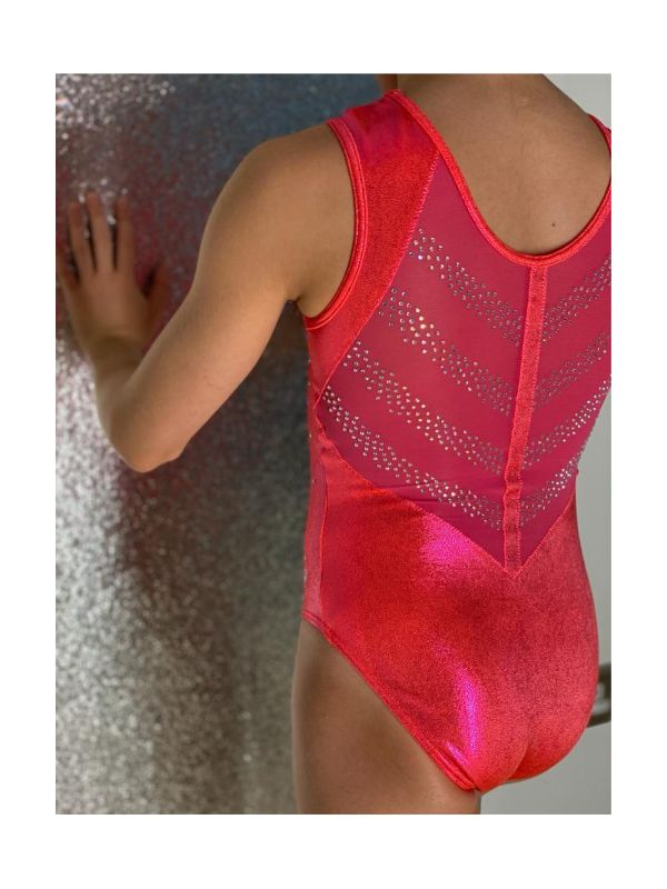 An image of the Gym Central Faye - Orangeade Leotard back view