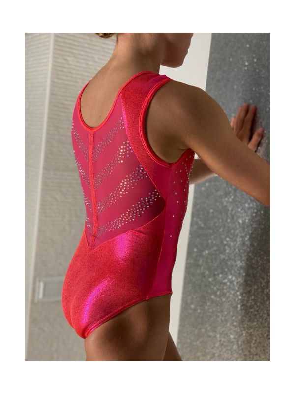 An image of the Gym Central Faye - Orangeade Leotard back/side view
