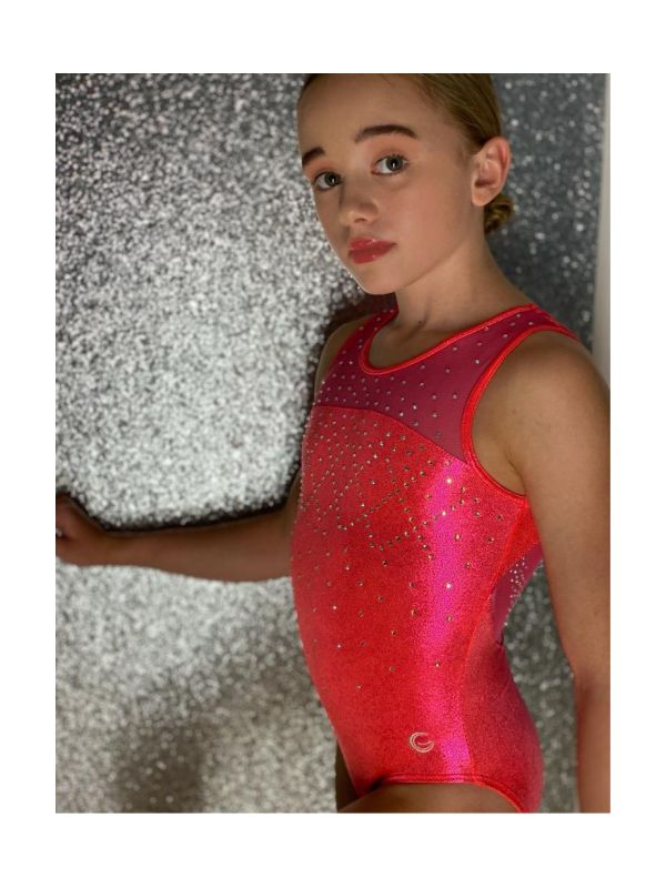An image of the Gym Central Faye - Orangeade Leotard side view